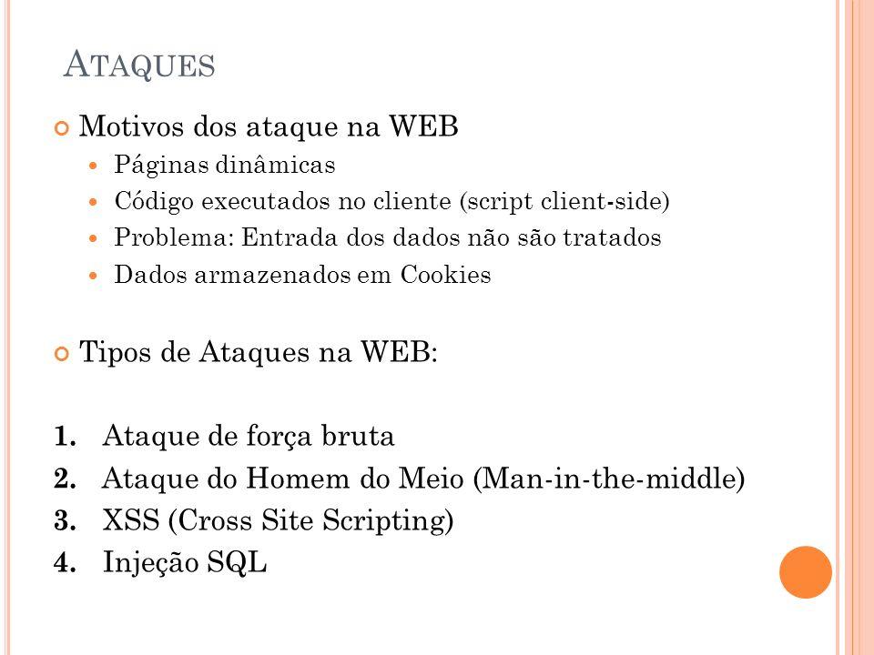 Ataques Motivos dos ataque na WEB Tipos de Ataques na WEB: