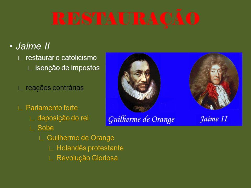 RESTAURAÇÃO • Jaime II ∟ restaurar o catolicismo ∟ isenção de impostos