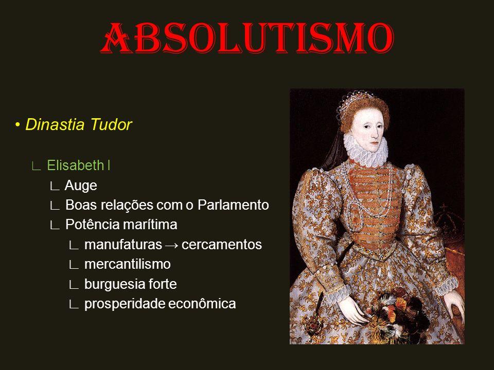 ABSOLUTISMO • Dinastia Tudor ∟ Elisabeth I ∟ Auge