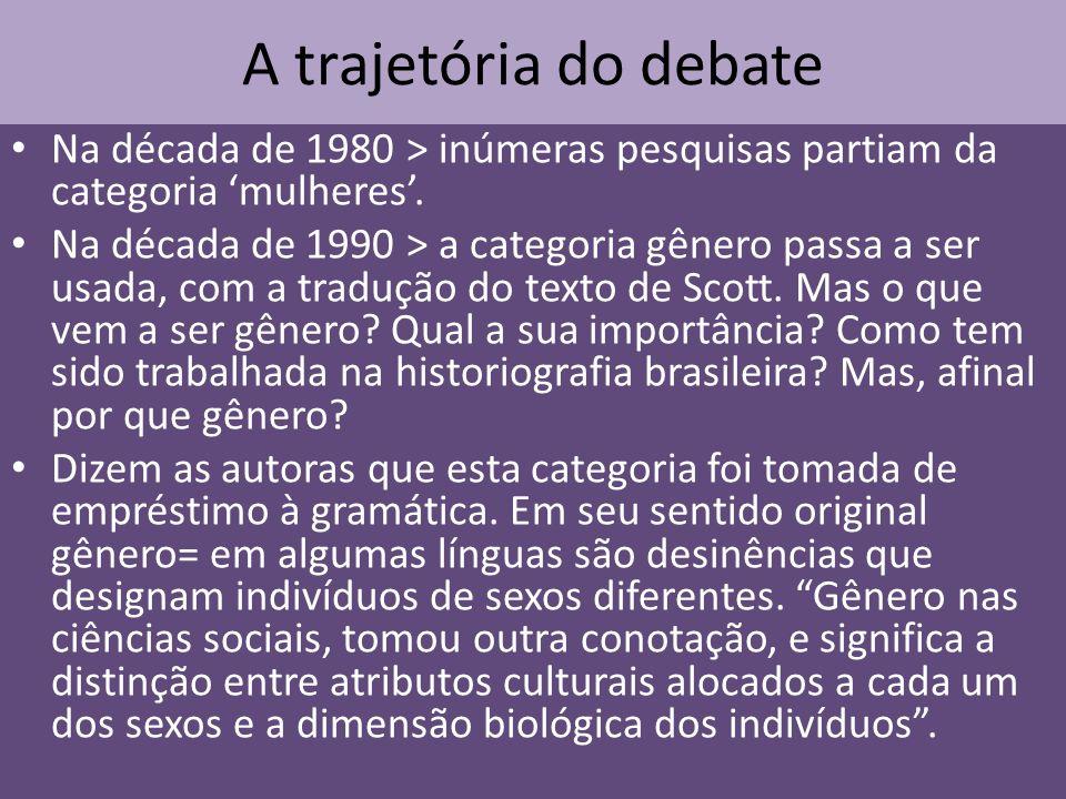 A trajetória do debate Na década de 1980 > inúmeras pesquisas partiam da categoria 'mulheres'.