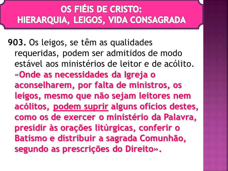 OS FIÉIS DE CRISTO: HIERARQUIA, LEIGOS, VIDA CONSAGRADA
