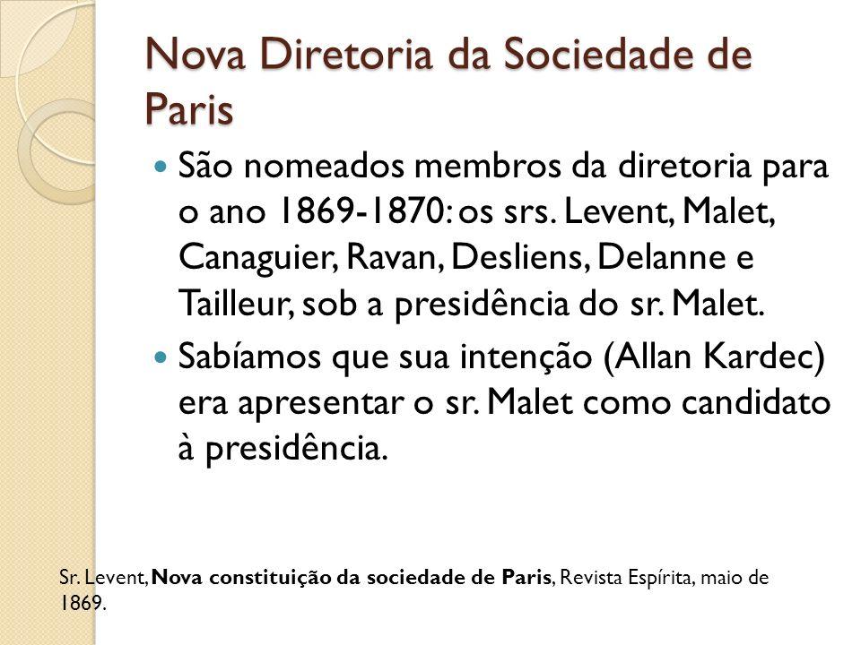 Nova Diretoria da Sociedade de Paris