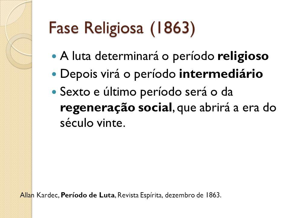 Fase Religiosa (1863) A luta determinará o período religioso