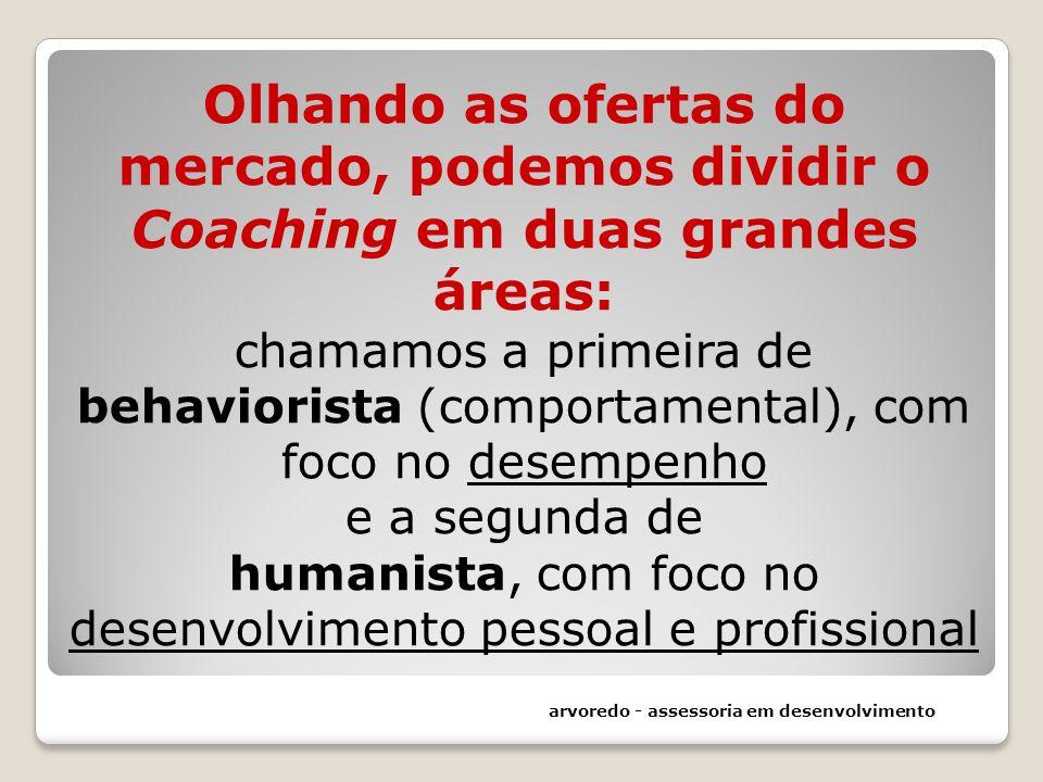 Olhando as ofertas do mercado, podemos dividir o Coaching em duas grandes áreas: chamamos a primeira de behaviorista (comportamental), com foco no desempenho e a segunda de humanista, com foco no desenvolvimento pessoal e profissional