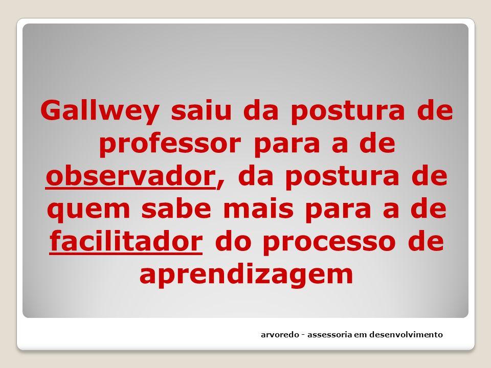 Gallwey saiu da postura de professor para a de observador, da postura de quem sabe mais para a de facilitador do processo de aprendizagem