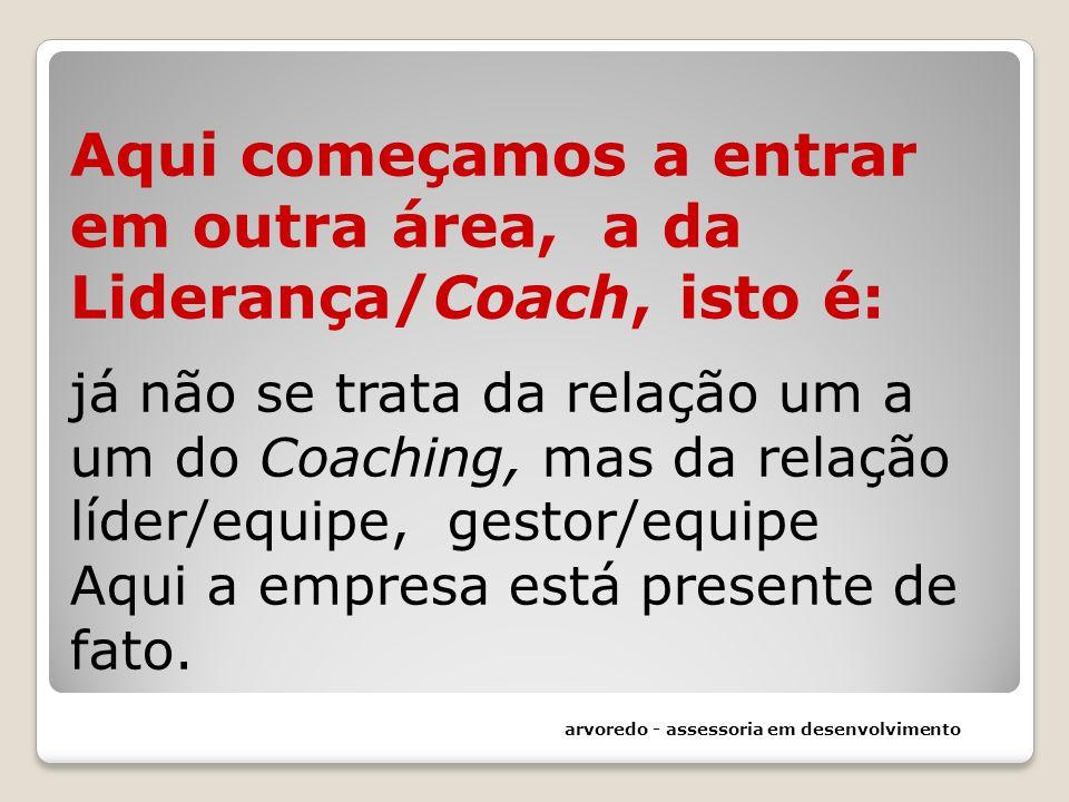 Aqui começamos a entrar em outra área, a da Liderança/Coach, isto é: já não se trata da relação um a um do Coaching, mas da relação líder/equipe, gestor/equipe Aqui a empresa está presente de fato.