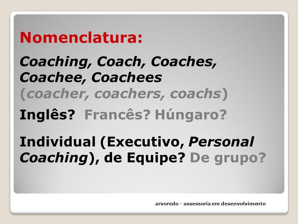 Nomenclatura: Coaching, Coach, Coaches, Coachee, Coachees (coacher, coachers, coachs) Inglês Francês Húngaro Individual (Executivo, Personal Coaching), de Equipe De grupo