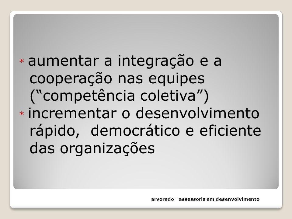 * aumentar a integração e a cooperação nas equipes ( competência coletiva ) * incrementar o desenvolvimento rápido, democrático e eficiente das organizações