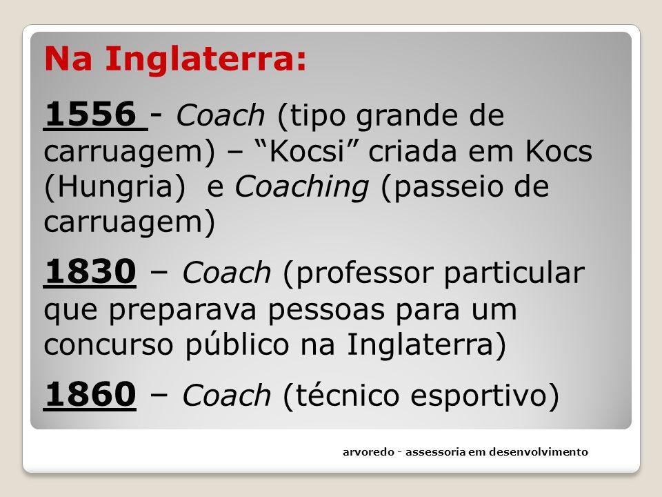 Na Inglaterra: 1556 - Coach (tipo grande de carruagem) – Kocsi criada em Kocs (Hungria) e Coaching (passeio de carruagem) 1830 – Coach (professor particular que preparava pessoas para um concurso público na Inglaterra) 1860 – Coach (técnico esportivo)