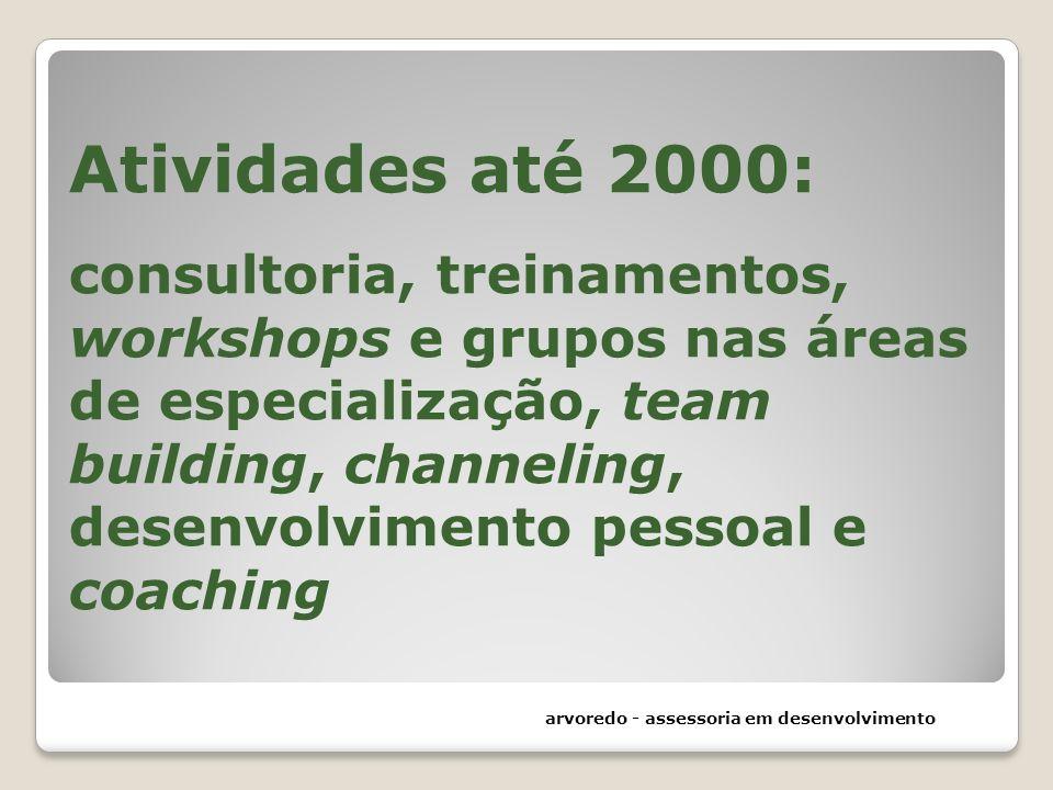 Atividades até 2000: consultoria, treinamentos, workshops e grupos nas áreas de especialização, team building, channeling, desenvolvimento pessoal e coaching