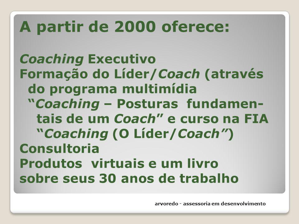 A partir de 2000 oferece: Coaching Executivo Formação do Líder/Coach (através do programa multimídia Coaching – Posturas fundamen- tais de um Coach e curso na FIA Coaching (O Líder/Coach ) Consultoria Produtos virtuais e um livro sobre seus 30 anos de trabalho