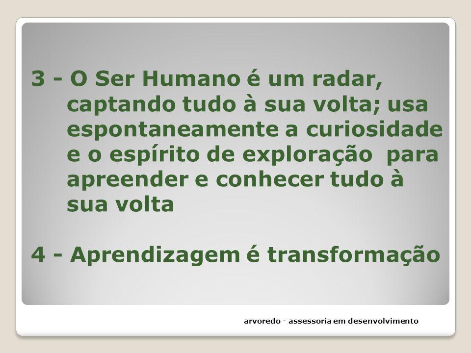 3 - O Ser Humano é um radar, captando tudo à sua volta; usa espontaneamente a curiosidade e o espírito de exploração para apreender e conhecer tudo à sua volta 4 - Aprendizagem é transformação