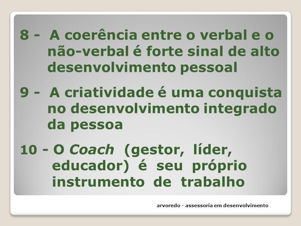 8 - A coerência entre o verbal e o não-verbal é forte sinal de alto desenvolvimento pessoal 9 - A criatividade é uma conquista no desenvolvimento integrado da pessoa 10 - O Coach (gestor, líder, educador) é seu próprio instrumento de trabalho