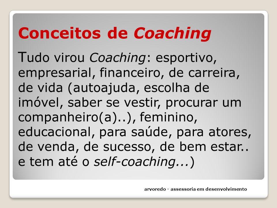 Conceitos de Coaching Tudo virou Coaching: esportivo, empresarial, financeiro, de carreira, de vida (autoajuda, escolha de imóvel, saber se vestir, procurar um companheiro(a)..), feminino, educacional, para saúde, para atores, de venda, de sucesso, de bem estar.. e tem até o self-coaching...)