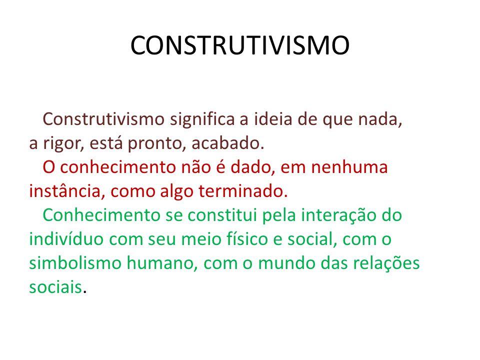 CONSTRUTIVISMO Construtivismo significa a ideia de que nada,