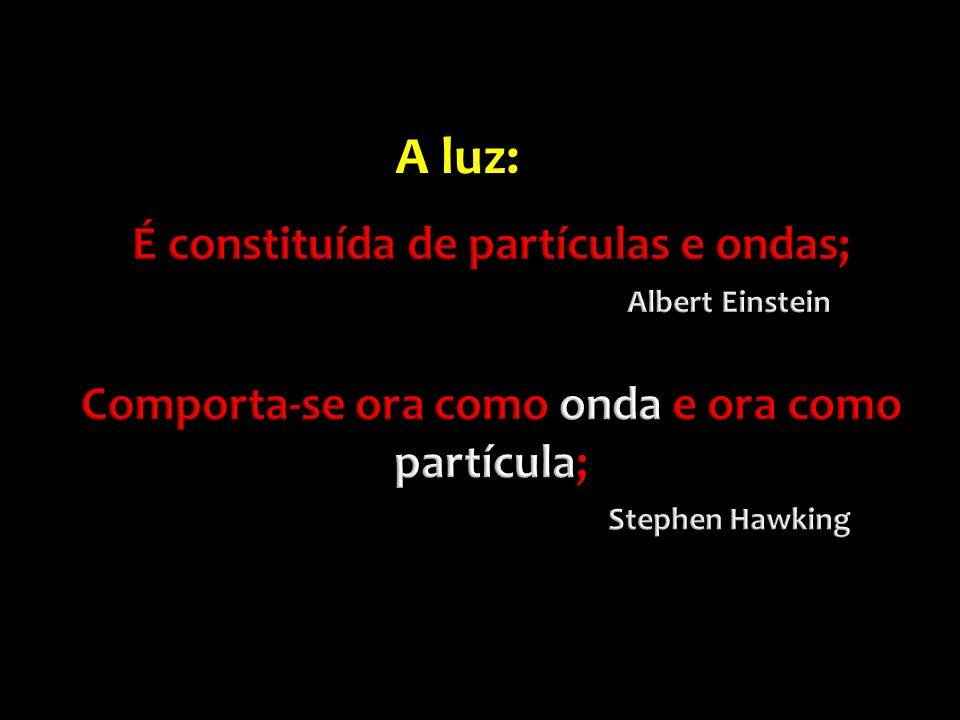 É constituída de partículas e ondas; Albert Einstein Comporta-se ora como onda e ora como partícula; Stephen Hawking
