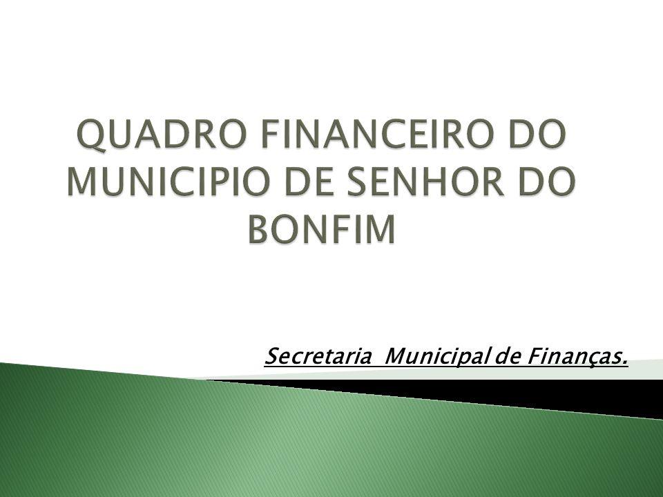 QUADRO FINANCEIRO DO MUNICIPIO DE SENHOR DO BONFIM
