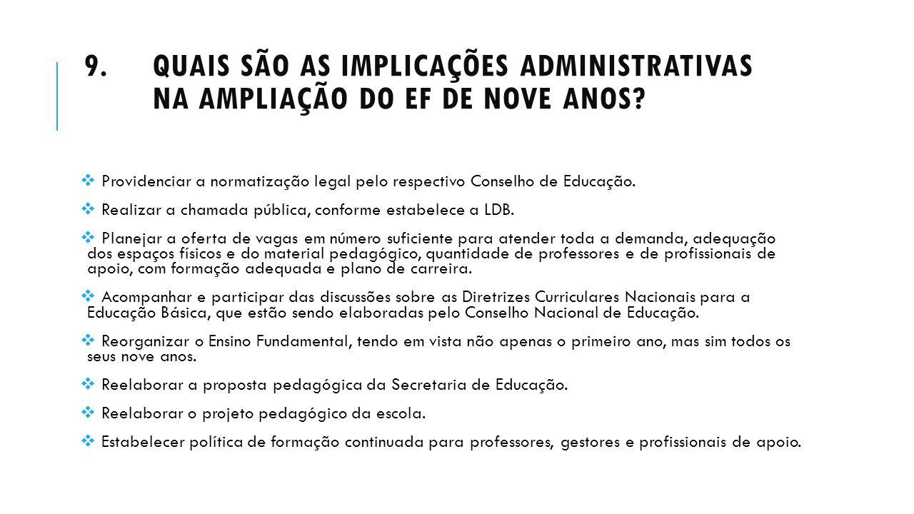 Quais são as implicações administrativas na ampliação do EF de nove anos