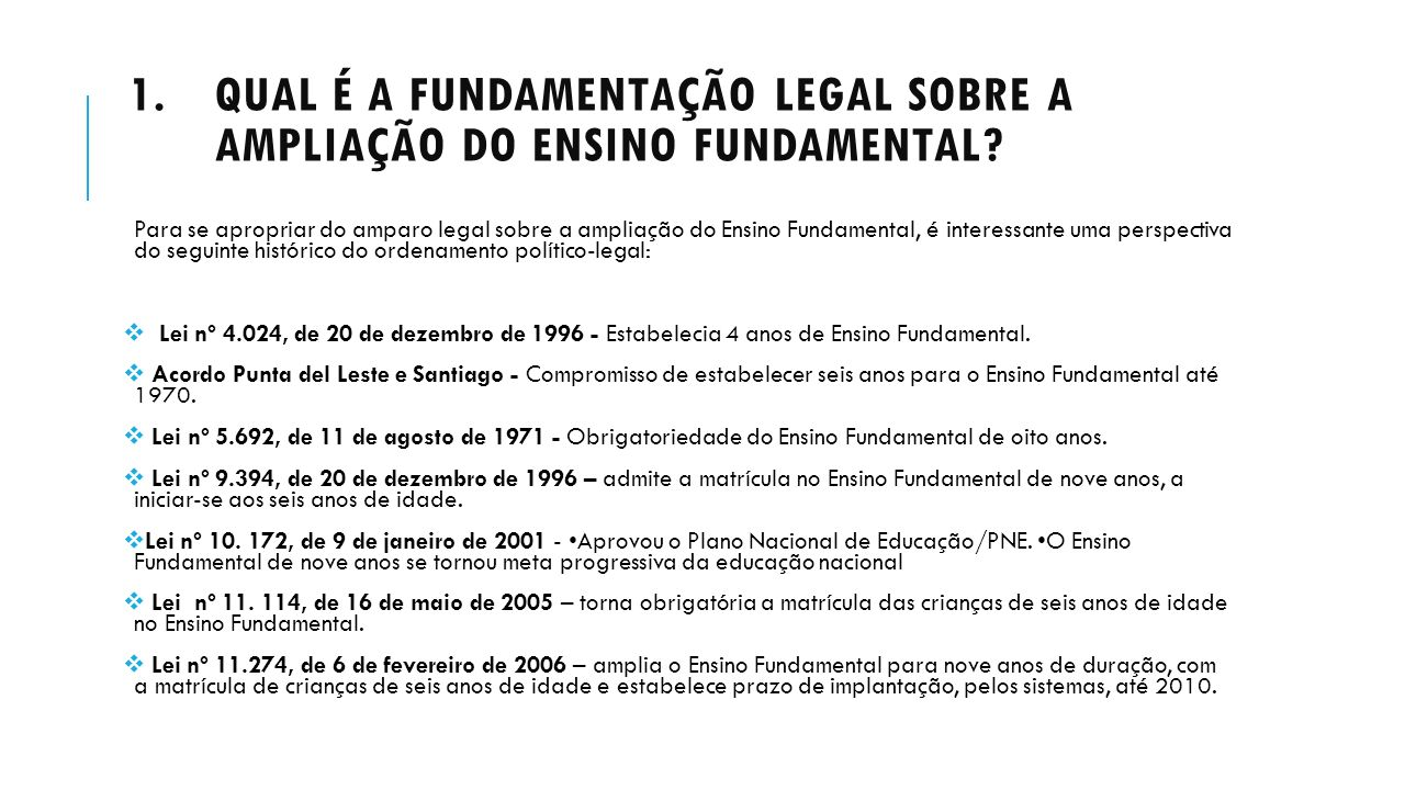 Qual é a fundamentação legal sobre a ampliação do Ensino Fundamental