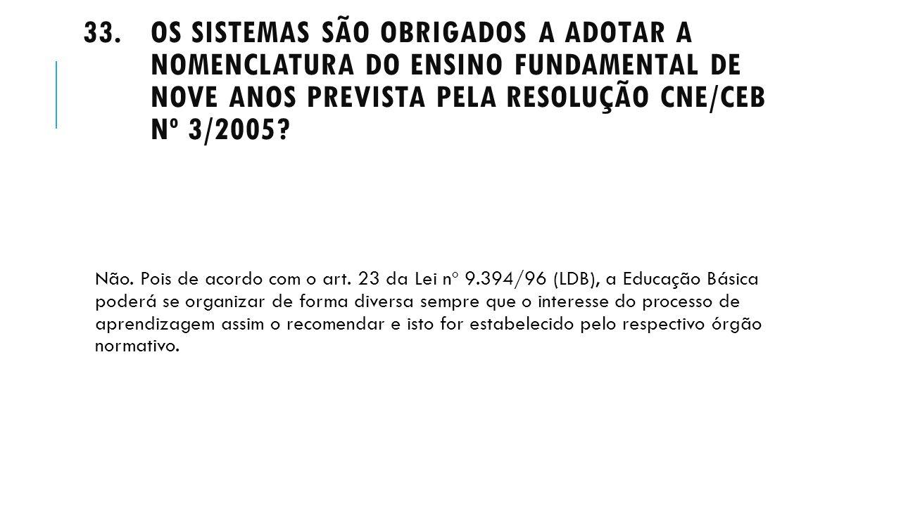 Os sistemas são obrigados a adotar a nomenclatura do Ensino Fundamental de nove anos prevista pela Resolução CNE/CEB nº 3/2005
