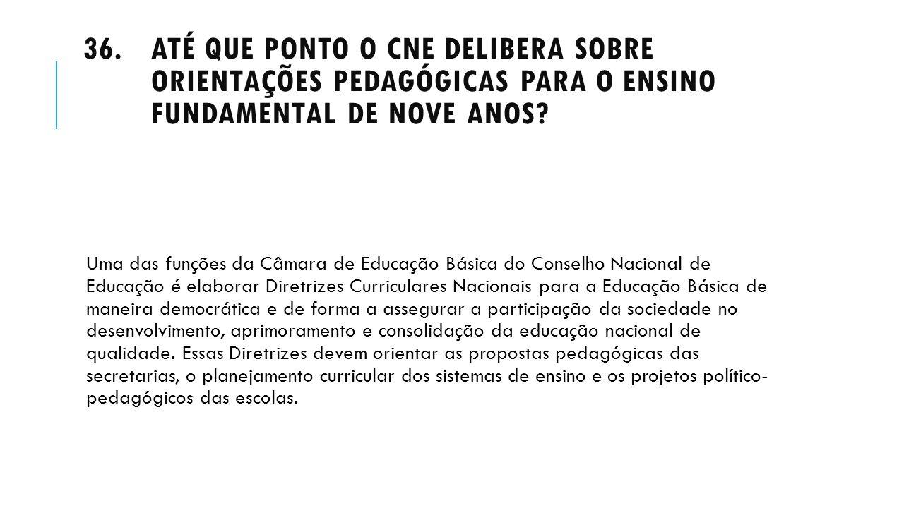 Até que ponto o CNE delibera sobre orientações pedagógicas para o Ensino Fundamental de nove anos