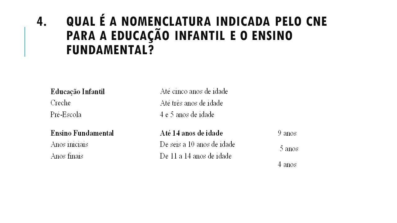 Qual é a nomenclatura indicada pelo CNE para a Educação Infantil e o Ensino Fundamental