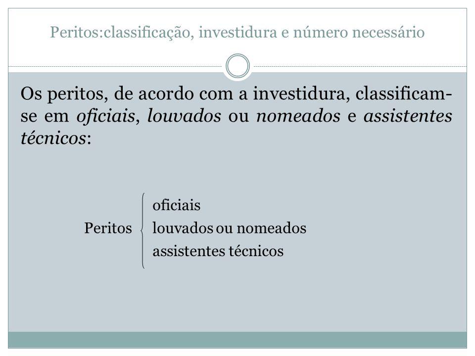Peritos:classificação, investidura e número necessário