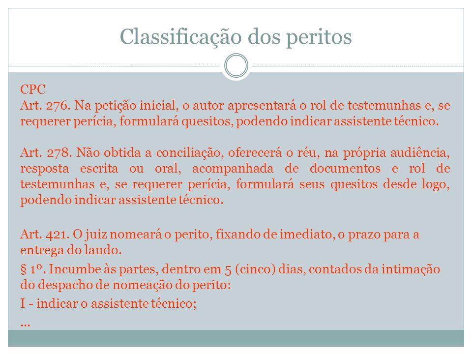 Classificação dos peritos