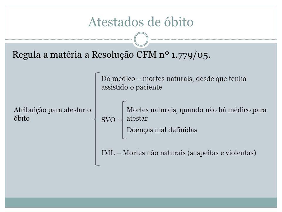 Atestados de óbito Regula a matéria a Resolução CFM nº 1.779/05.