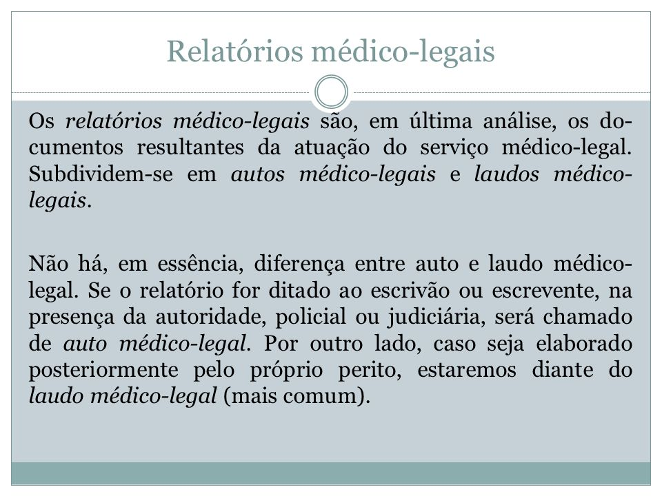 Relatórios médico-legais