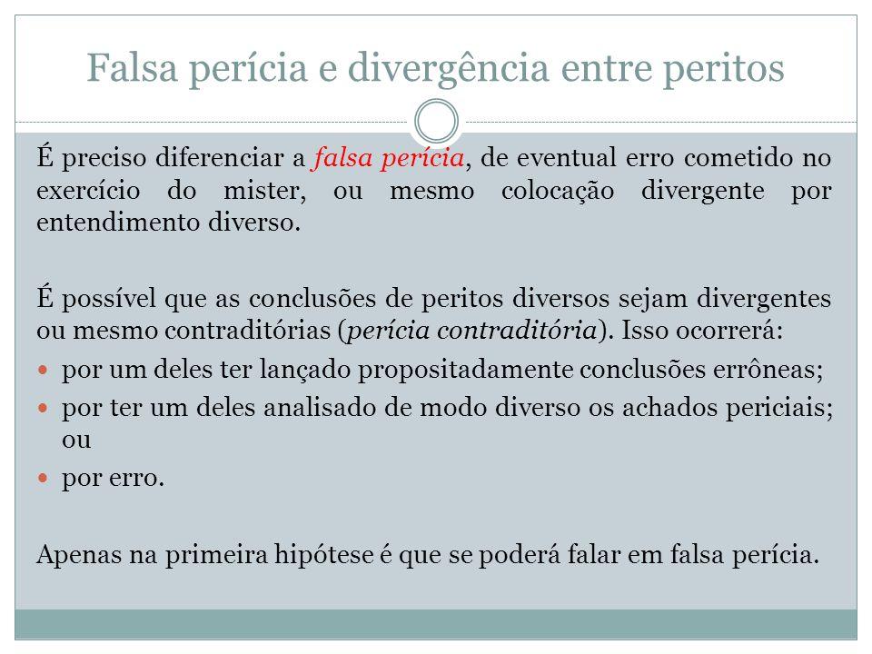 Falsa perícia e divergência entre peritos