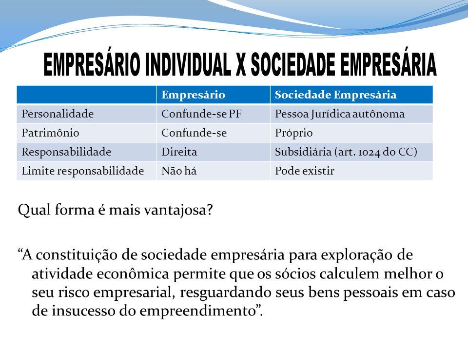 EMPRESÁRIO INDIVIDUAL X SOCIEDADE EMPRESÁRIA
