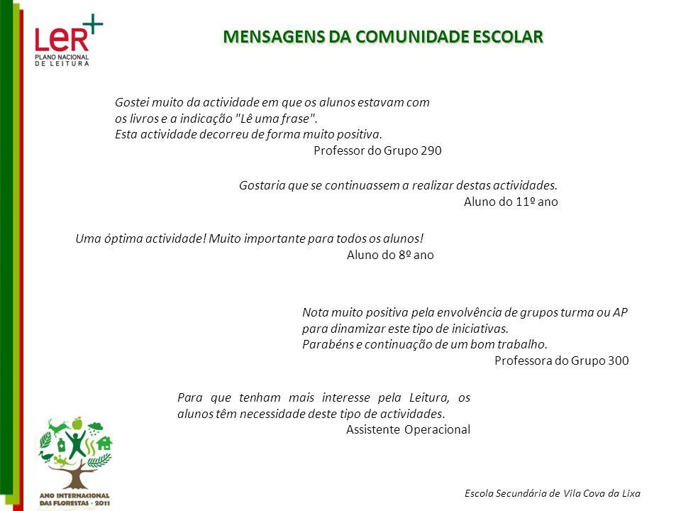 MENSAGENS DA COMUNIDADE ESCOLAR