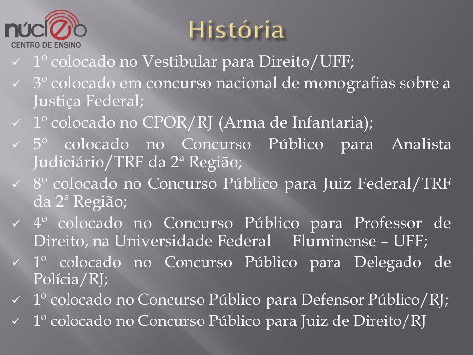 História 1º colocado no Vestibular para Direito/UFF;