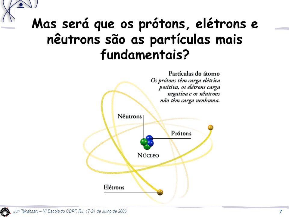 O átomo Mas será que os prótons, elétrons e nêutrons são as partículas mais fundamentais