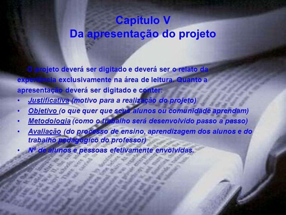 Capitulo V Da apresentação do projeto
