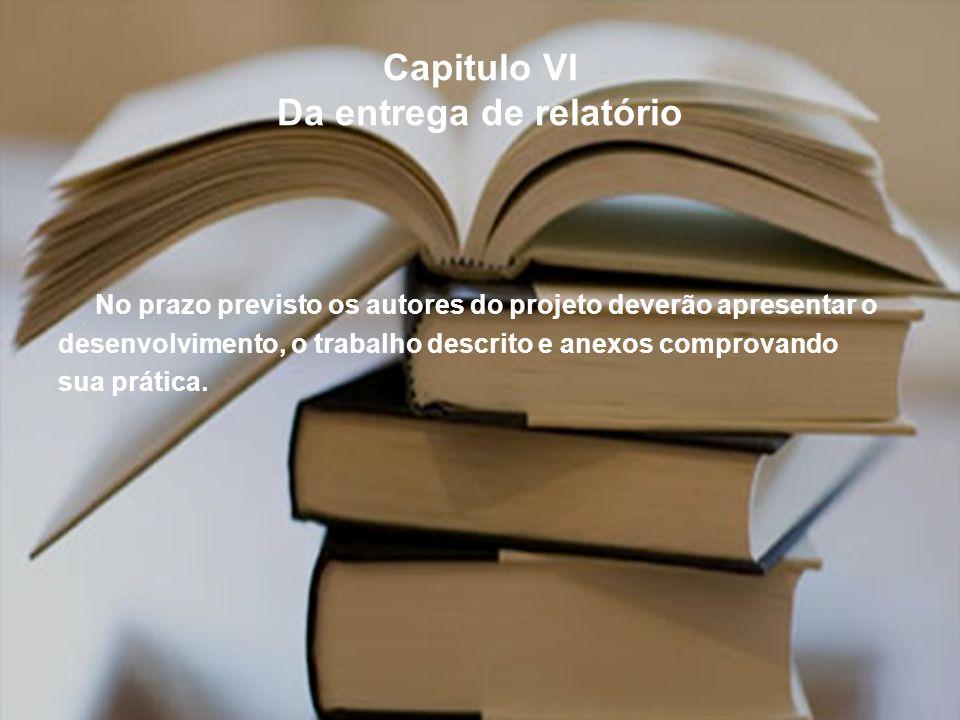 Capitulo VI Da entrega de relatório