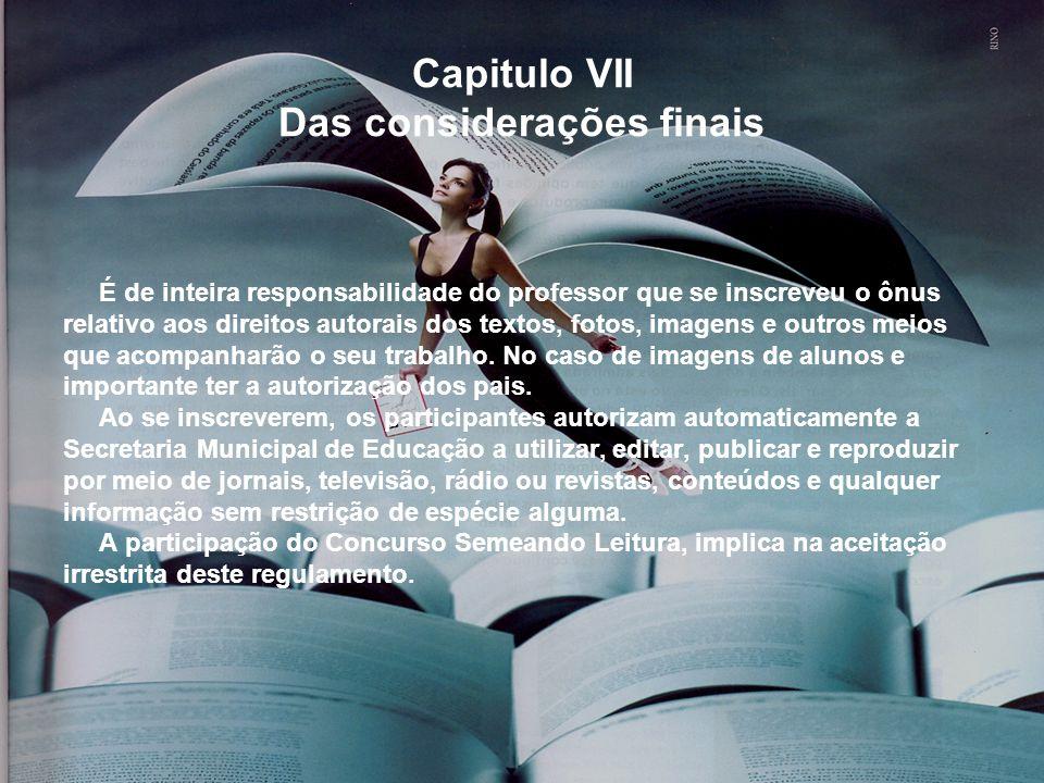 Capitulo VII Das considerações finais