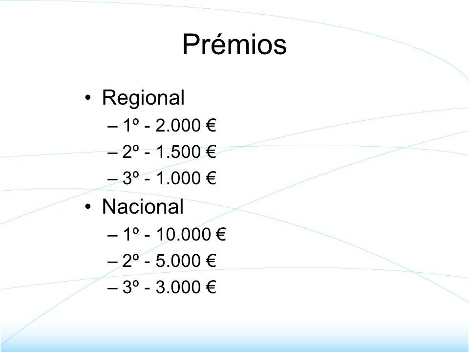 Prémios Regional Nacional 1º - 2.000 € 2º - 1.500 € 3º - 1.000 €