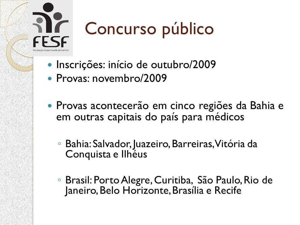 Concurso público Inscrições: início de outubro/2009