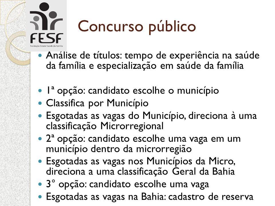 Concurso público Análise de títulos: tempo de experiência na saúde da família e especialização em saúde da família.