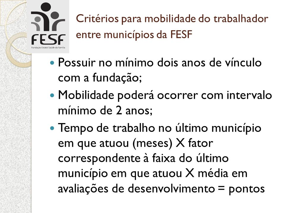 Critérios para mobilidade do trabalhador entre municípios da FESF