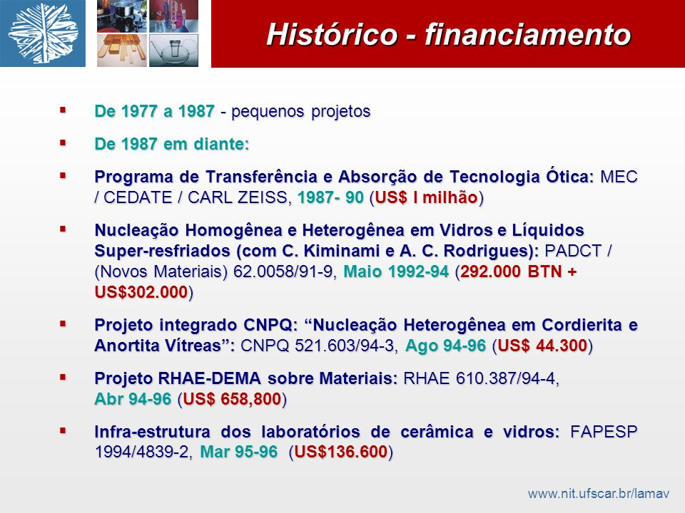 Histórico - financiamento