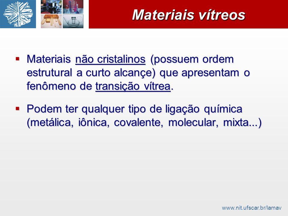 Materiais vítreos Materiais não cristalinos (possuem ordem estrutural a curto alcançe) que apresentam o fenômeno de transição vítrea.
