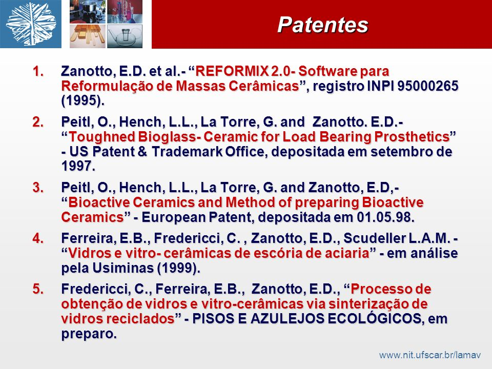 Patentes Zanotto, E.D. et al.- REFORMIX 2.0- Software para Reformulação de Massas Cerâmicas , registro INPI 95000265 (1995).