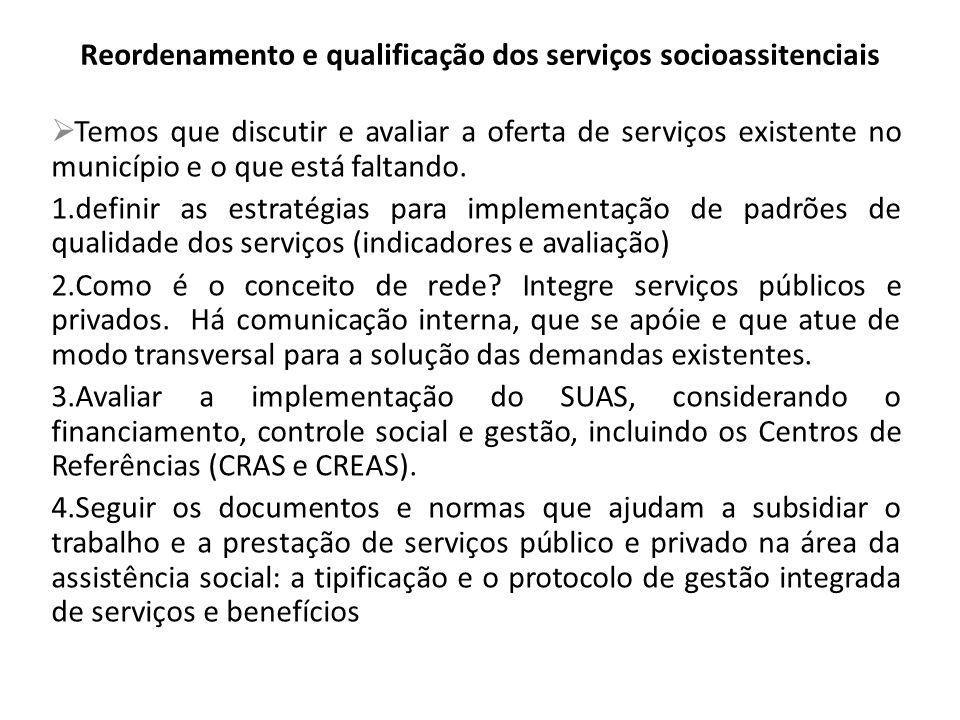 Reordenamento e qualificação dos serviços socioassitenciais
