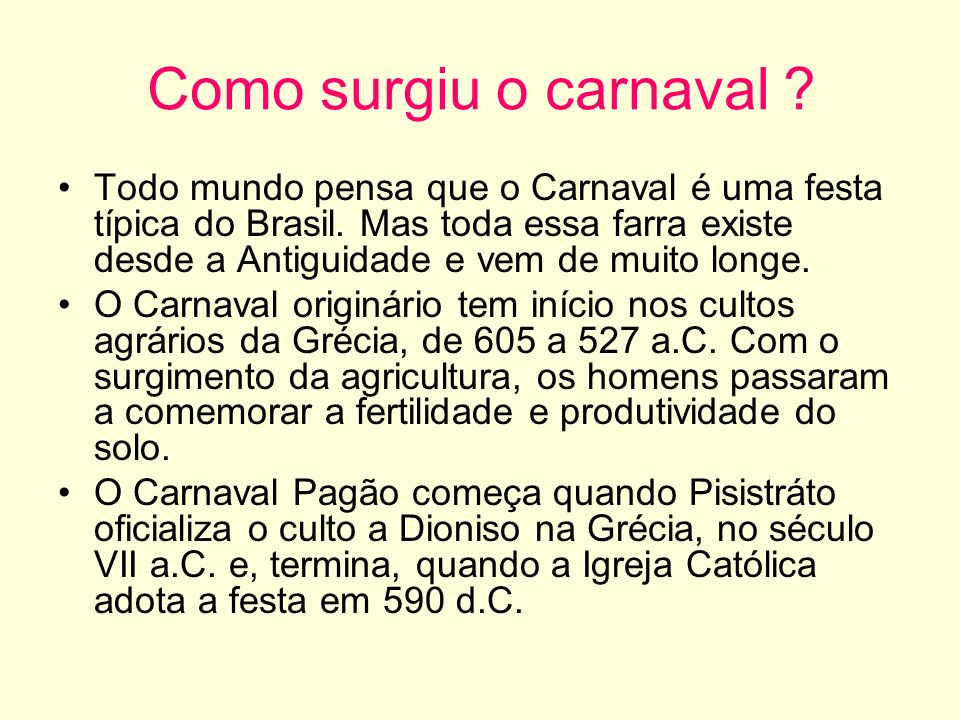 Como surgiu o carnaval