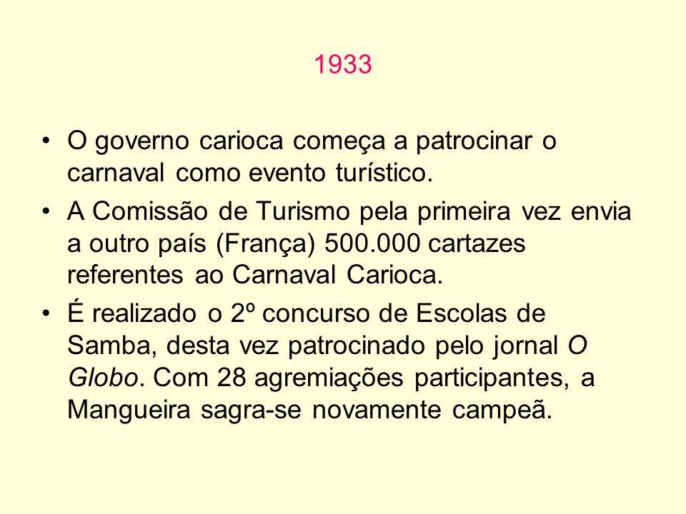 1933 O governo carioca começa a patrocinar o carnaval como evento turístico.