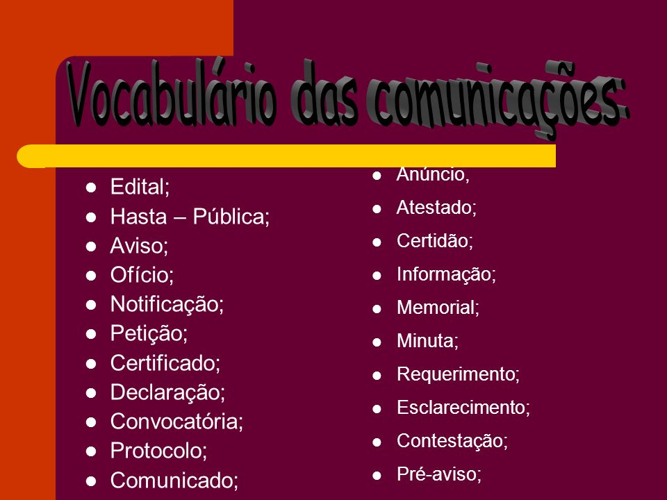 Vocabulário das comunicações: