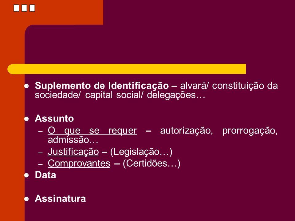 ... Suplemento de Identificação – alvará/ constituição da sociedade/ capital social/ delegações… Assunto.